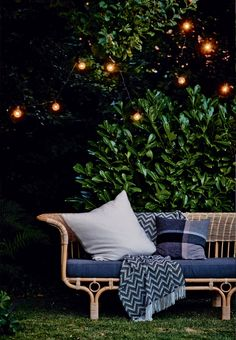 Lovely atmosphere in the garden with a cozy light chain.