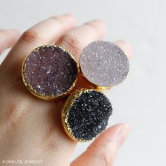 Gold Druzy Quartz Rings  Agate Druzy Ring  Adjustable von OhKuol
