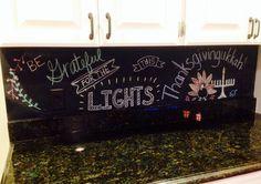 My chalkboard wall display for Thanksgivingukkah 2013!