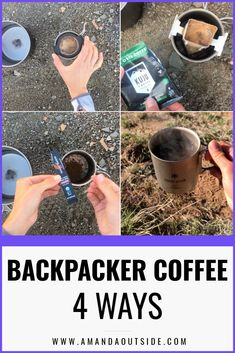 How to make coffee in the backcountry - 4 WAYS! I love a good cup of coffee in the backcountry. Click through for 4 different methods, including a video tutorial! By Amanda Outside - your source for backpacking tips and inspiration! Camping Menu, Camping Coffee, Kayak Camping, Group Camping, Camping Foods, Camping Hammock, Camping Recipes, Camping Stuff, Camping Tips