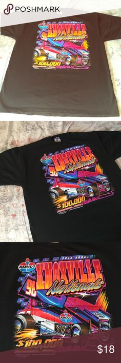 Race Car 🏁 Fans 1998 Knoxville Nationals ⚡️beauty Clean XL that is beautiful. Great front & back logos on a black tee slight fade . A+ logos & ready to rock . Knoxville National / Tennessee Racing Speed $100,000 to the winner Vintage Tops Tees - Short Sleeve