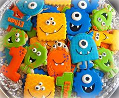 Monster Birthday Cakes, Little Monster Birthday, Monster 1st Birthdays, Monster Birthday Parties, Monster Party, Birthday Cookies, First Birthday Parties, First Birthdays, Boys First Birthday Party Ideas