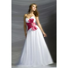 Graceful A-line Strapless Organza Evening Dress Prom Gown With Bow