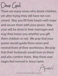 Prayer Of The Day – Wives Who Desire Children by @unveiledwife