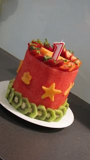 """This fruity, watermelon based """"cake"""" is a healthy alternative for a 1st birthday party."""