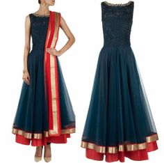Product Details-: Wedding Bridal Ethinc India Kameez Navy blue color with beautiful designer resham hand embroidery top part with and net kameez Indian Wedding Outfits, Indian Outfits, Indian Designer Suits, Designer Wear, Designer Dresses, Anarkali Dress, Lehenga, Anarkali Suits, Desi Clothes