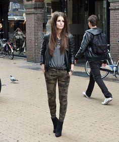 Zara Leather Jacket, Zara Army Pants, Schuurmanschoenen Ankle Boots, H Grey Shirt, Fashionmindshop Spike Stud Bracelets