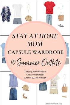 Create a Stay At Home Mom Capsule Wardrobe: 10 Summer Outfits - This post is a preview of the newest eBook in the capsule wardrobe series, The Stay At Home Mom Capsule Wardrobe: Summer 2018 Collection. I'm sharing a few featured items in the capsule wardrobe and shows how you can mix and match those items to have 100 outfits! Featured in the collection are a kimono, denim vest, shorts, striped tee, twist top, tie front tee, sandals and espadrilles.