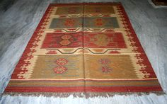 Turkish Kilim Rugs,Antalya Kilim, Wool Jute Rug 6x9 Feet Area Rug,Carpet Area  #Turkish