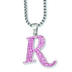 REMINGTON stainless steel pink crystal R pendant. Rem-Gem Collection by Hunter's Jewels. Officially licensed product.