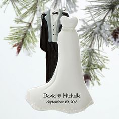 This is the most beautiful wedding Christmas ornament! Great Christmas gift idea for the newlyweds! It's a personalized wedding ornament that you can customize with their first names and wedding date!