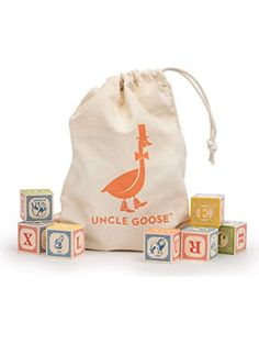 Uncle Goose Classic ABC Blocks with Canvas Bag - Made in USA ❤ Uncle Goose
