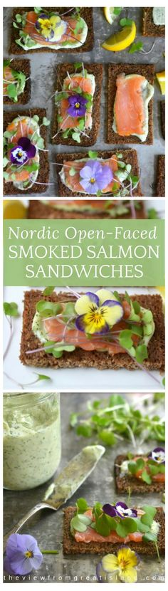 Nordic Open Faced Smoked Salmon Sandwiches are exquisitely delicate and healthy ~ this is clean eating that that also happens to be insanely delicious!   Edible Flowers