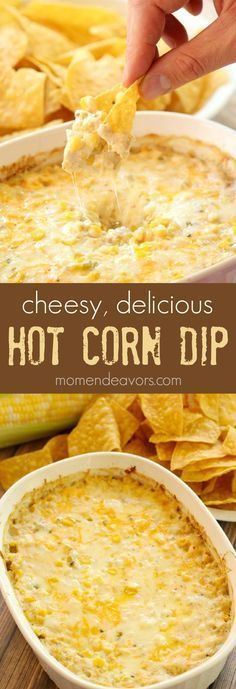 Cheesy Hot Corn Dip Recipe Ingredients approx 3 cups corn kernels cans of corn, drained) 1 small can green chiles ¼ cup diced sweet onion ½ tsp garlic powder 4 oz cream cheese, softened ½ cup sour Yummy Appetizers, Appetizer Recipes, Easy Appetizer Dips, Easy Party Dips, Easy Thanksgiving Appetizers, Friendsgiving Recipe, Freezable Appetizers, Avacado Appetizers, Prociutto Appetizers