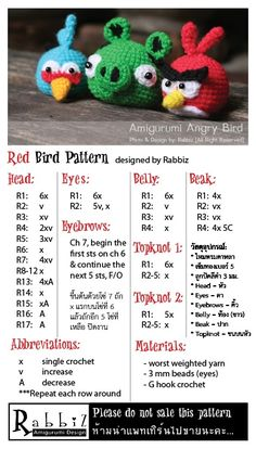 "Free Angry ""RED"" Bird Pattern from Rabbiz Design...nifty way to write a patern quick and easy to read too"