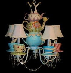 Wow...Mad Hatter Chandelier.