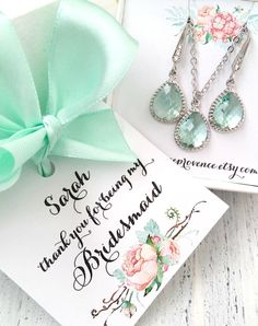 Bridesmaid jewelry SET of 6 Bridesmaids Silver Earrings and Necklaces Wedding Set Bridesmaids Set Jewelry Set Wedding Jewelry by FranceProvence #TrendingEtsy