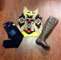 Can't help but love this outfit! The aztec top is a MUST!! @Brooke Behrens I went to this store in bee cave, you would LOVE it!! I had a field day.