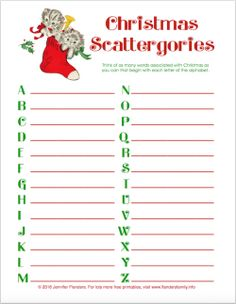Free printable Christmas game - Scattergories