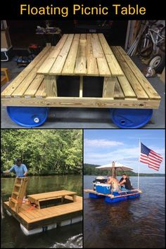 Enjoy Some Quality Time at The Lake by Building This Floating Picnic Table picnic table ideas Build an awesome floating picnic table Floating Picnic Table, Picnic Tables, Lake Decor, Floating House, Floating Dock, Floating Pontoon, Lake Cabins, Cabin On The Lake, My Pool