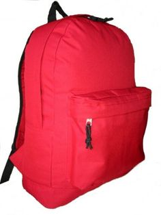 18 INCH SIMPLE DAYPACK BASIC BACKPACK BOOKBAG SCHOOL BAG, RED - Click image twice for more info - See a larger selection of red  backpacks at http://kidsbackpackstore.com/product-category/red-backpacks/. - kids, juniors, back to school, kids fashion ideas, teens fashion ideas, school supplies, backpack, bag , teenagers girls , gift ideas, red