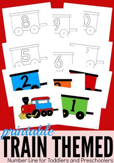 Printable Train Themed Number Line From ABCs to ACTs is part of Math activities preschool - Back when we first started our tot school journey, we initially set up a tot school room that housed all of our stuff and was where we did most of our Trains Preschool, Preschool Classroom, Toddler Preschool, Train Crafts Preschool, Kindergarten, Kids Crafts, Transportation Activities, Train Activities, Preschool Activities