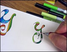 Great ideas for doodled letters.