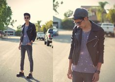 Stargazers (by Jonathan Wilson) - http://lookbook.nu/look/4841835-Topman-Biker-Jacket-Bershka-Galaxy-Tank-Cheap