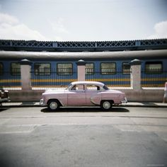 Old Pink American Car Outside Railway Station, Havana, Cuba, West Indies, Central America