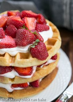 Strawberry Waffle Cake - A sensational layered dessert reminiscent of strawberry shortcake Cake Batter Waffles, Pancakes And Waffles, Strawberry Waffles, Strawberry Shortcake, Strawberry Recipes, Profiteroles, Waffle Recipes, Cake Recipes, Baking Recipes