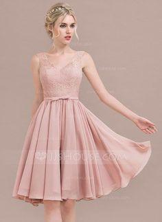 [US$ 92.49] A-Line/Princess V-neck Knee-Length Chiffon Lace Cocktail Dress With Bow(s) (016124639)