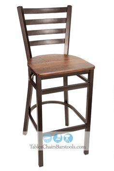 Merveilleux GLADIATOR Rustic Brown Powder Coat Ladder Back Metal Bar Stool W/ Reclaimed  Barn Wood Seat