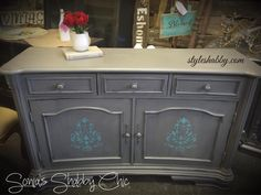 Fabulous shabby distressed dresser with accents of our Bahama Jade Junk Monkey chalky paint!