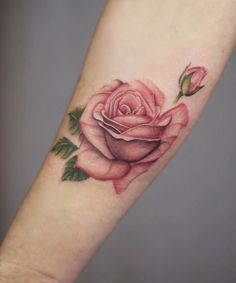 Elegant Pink Rose Tattoo by Cindy van Schie