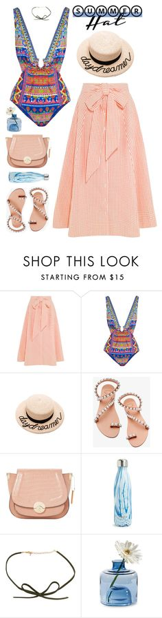 """""""Untitled #1424"""" by timeak ❤ liked on Polyvore featuring Lisa Marie Fernandez, Camilla, Eugenia Kim, Elina Linardaki, Dune, S'well, Torre & Tagus and summerhat"""