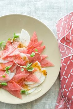 Shaved Jicama and Watermelon Salad..oh this is perfect, I love them both!