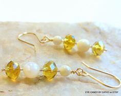 Yellow crystal and white mother of pearl earrings