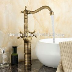 49.29$  Know more - http://aiykx.worlditems.win/all/product.php?id=32747030624 - Free Shipping Tall Type Dual Cross Handle Antique Copper Kitchen Bathroom Bain Sink Faucet Swivel Spout Vanity Mixer Tap GI31