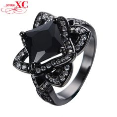 Dudee Jewelry Size 5-10 Women Black White Zircon Flower Wedding Finger Ring Jewelry Black Gold Filled Ring Anel RB0155. High Quality Product. High Polished / Fine Workmanship. Never Fade / Scratchproof and Anti - Allergy. Pack with Beautiful Bag as a Gift. Size info is estimate, if concern, Please leave me message.