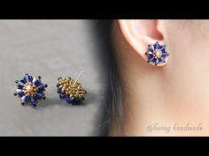 Seed Bead Earrings, Simple Earrings, Beautiful Earrings, Beaded Earrings, Stud Earrings, Handmade Bracelets, Earrings Handmade, Handmade Jewelry, Jewelry Crafts