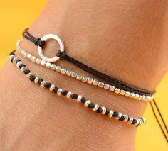 Rose gold Beads. Sterling silver bracelet por zzaval en Etsy