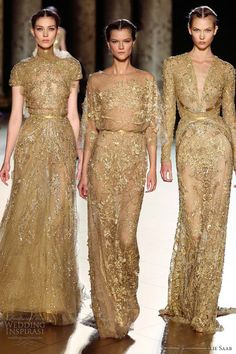 Dress Style: The Sheath Dress. Gold lace embroidered wedding dresses with sleeves.