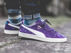 Puma Clyde Premium - Sweet Grape/Whisper White - 2017 (by _timmysmalls) On sale! - find shops to buy → Puma Sneakers Shoes, Converse Sneaker, Sneakers Mode, Keds Shoes, Classic Sneakers, Pumas Shoes, Sock Shoes, Casual Sneakers, Sneakers Fashion