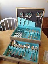 """WM. ROGERS INTERNATIONAL I.S. """"JUBILEE"""" 1953 Silverplate Silverware Set for 8 - $76 Silverware Sets, Flatware Set, Silver Plate, Triangle, Silverware Tray, Cutlery Set"""