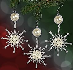 Snowflake Ornaments - Set of 3 Metal and Jeweled Pearl and Crystal Snowflake Ornaments - Starburst Snowflake Designs - Christmas Ornaments