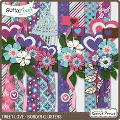 Tweet Love - Border Clusters from Designs by Connie Prince