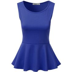 J.TOMSON Women's Short Sleeve Fitted Peplum Top ROYAL M ($17) ❤ liked on Polyvore featuring tops, blue top, short sleeve tops, fitted tops, blue peplum top and peplum tops