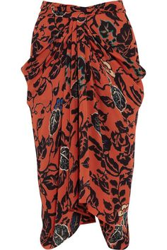 Etro Tao Draped Printed Silk Skirt in Red Draped Skirt, Silk Skirt, Dress Skirt, Orange Gris, Couture Skirts, Over Boots, Cute Fashion, Womens Fashion, Mode Style