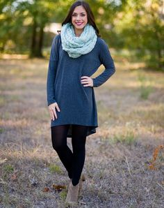 This long sleeve, light weight sweater tunic featuring a hi-low hemline is the perfect color and fit!  Looks great paired with our snakeskin leggings.