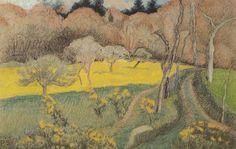 Landschap. Het groene dal ~ 1912 ~ Kleurpotlood en pastel op grijs papier ~ Particuliere verzameling